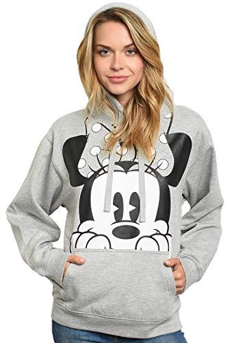 Disney Womens Plus Size Hoodie Minnie Mouse Peeking Pullover Sweatshirt (2X) Heather Grey