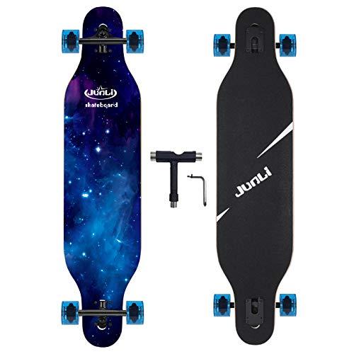 Junli 41 Inch Freeride Longboard Skateboard - Skateboard Cruiser for Cruising, Carving and Downhill(Sea Blue)…