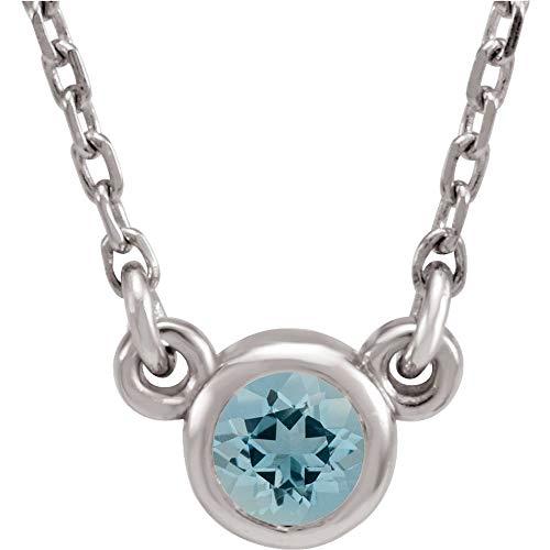 Sterling Silver Imitation Aquamarine Necklace, 16'