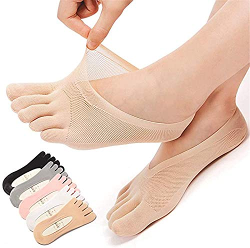 JLDP Five Toes Breathable Socks Shallow Mouth Invisible Boat Socks with Gel Tab,Low-Cut Silicone Non-Slip No Show Full Toe Separated Socks (5pair)