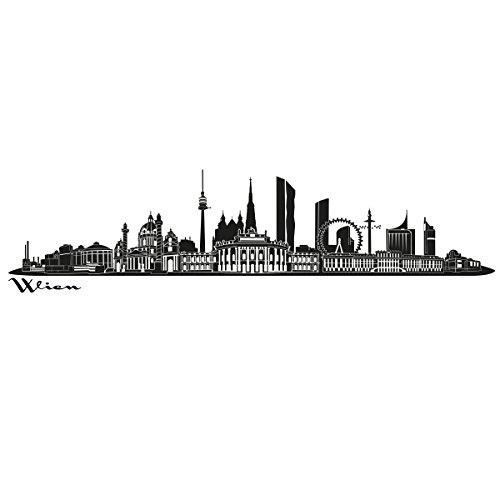 Wandkings Skyline - Deine Stadt wählbar - Wien - 125 x 27 cm - Wandaufkleber Wandsticker Wandtattoo