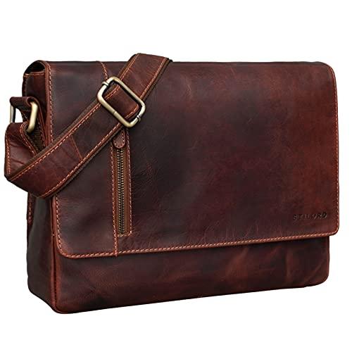 STILORD 'Davis' Messenger Bag Leder 13 Zoll Laptop Tasche Vintage Umhängetasche Schultertasche für Uni Büro Büchertasche Messengertasche Echtleder, Farbe:Siena - braun