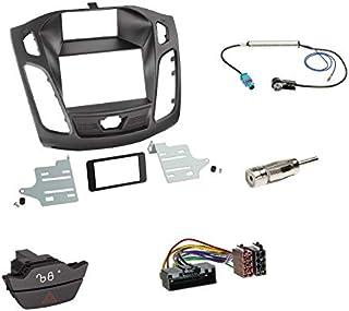 Einbauset: Autoradio Doppel 2 DIN Radioblende Radio Blende Halterung schwarz + ISO Radioanschlusskabel Adapter + Ersatzwarnblinkschalter + Fakra Antennenadapter für Ford Focus (DYB) 04/2011 11/2014