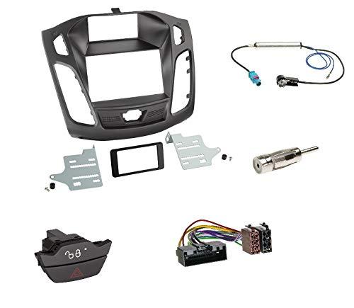 Einbauset: Autoradio Doppel 2-DIN Radioblende Radio Blende Halterung schwarz + ISO Radioanschlusskabel Adapter + Ersatzwarnblinkschalter + Fakra Antennenadapter für Ford Focus (DYB) 04/2011-11/2014