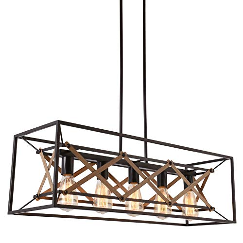 Alice House 31.5' Island Lighting, 5 Light Kitchen Pendant Lighting, Dining Room Chandelier, Pool Table Light, Brown Finish AL8061-P5