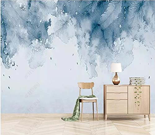Papel De Pared 3D Tela No Tejida Papel Pintado Acuarela Azul Hermoso Arte De Plumas Papel Pintado Pared Mural Decorativo Salón Dormitorio 430x300cm
