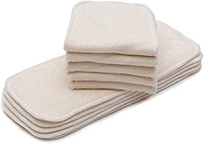 KaWaii Baby Premium Label Organic Bamboo Inserts for Cloth Diapers, 4-Layered Bamboo Inserts (No Microfiber or Fleece Inside), Diaper Inserts for 6-22 lbs, Reusable Diaper Inserts - Pack of 10.
