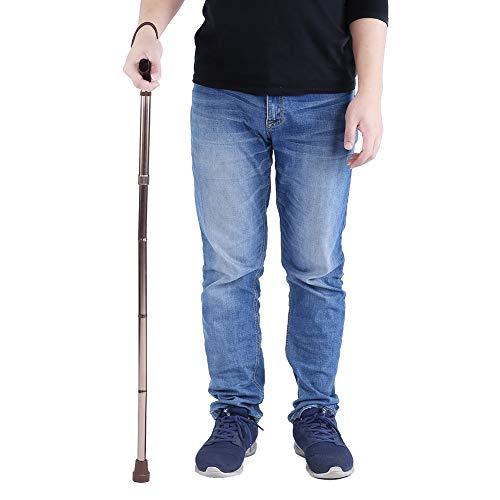 Yinhing Bastones De Bastón para Ancianos, Mango De Madera, Bastón De Seguridad Plegable, Guía, Bastón Ciego, Muleta De Bronce para La Movilidad De Los Ancianos