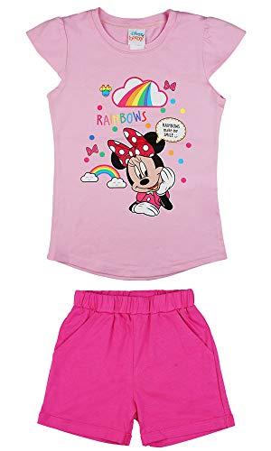 Minnie Mouse Mädchen Sommer Zweiteiler-Set mit Kurze Hose und T-Shirt (Modell 1, 116)