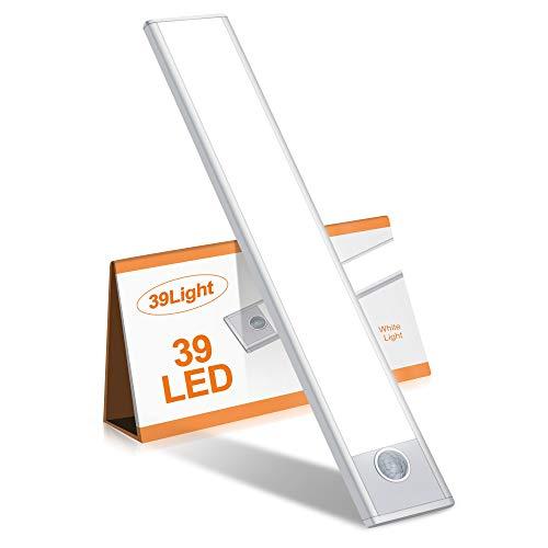 ZHENREN センサーライト 室内 人感センサーライト 39LED USB充電式 昼白色 9.5mm極薄型 工事不要 流し元灯 LEDバーライト/キッチンライト/クローゼットライト/階段ライト/玄関/廊下/足元ライト 屋内照明 12ヶ月安心保証