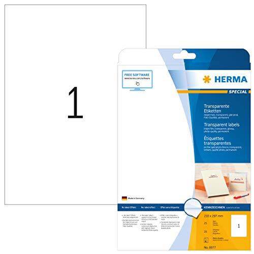 HERMA 8977 Folien-Etiketten für Inkjet Drucker DIN A4 transparent (210 x 297 mm, 25 Blatt, Folie, glänzend) selbstklebend, bedruckbar, permanent haftende Aufkleber, 25 Klebeetiketten, durchsichtig