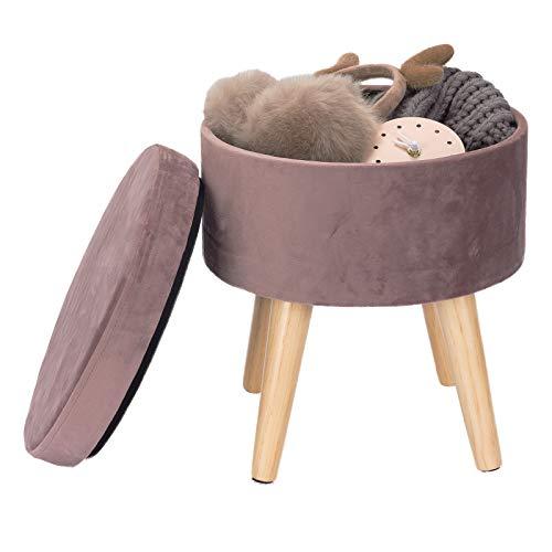 WOLTU Sitzhocker mit Stauraum Fußhocker Aufbewahrungsbox, Deckel Abnehmbar, Gepolsterte Sitzfläche aus samt Massivholz, Rosa, SH27rs