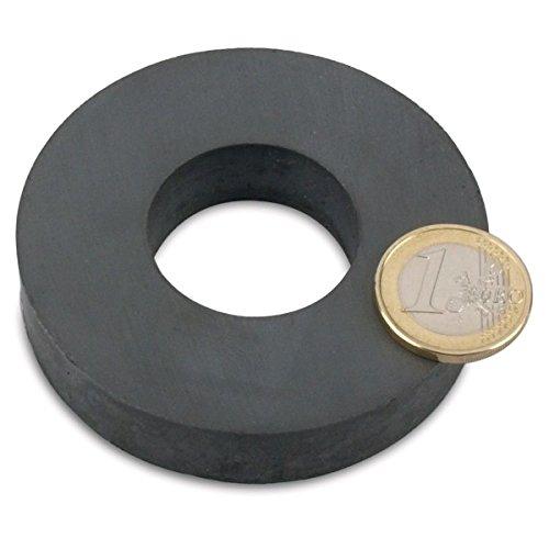 Ringmagnet Ø 72,0 x 32,0 x 15,0 mm (magnets4you) - hält 6 kg, Magnetring aus Y35 Ferrit, Magnet Scheibe mit Loch, ideal zum Basteln
