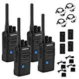 Long Range Rechargeable Two-Way Radio with Earpiece and Group Talk Function, Sanzuco UHF 400-470MHz Reprogrammable Handheld Walkie Talkie, USB Charging Dock Included (4 Pack)