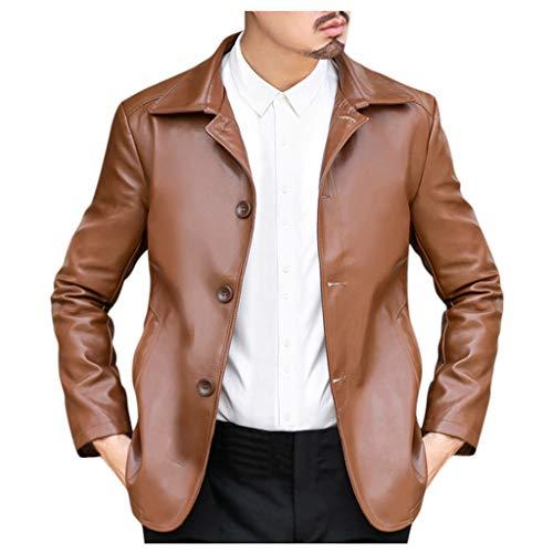 MAYOGO Herren Kunst-Lederjacke DREI Button Down Biker Jacke Motorradjacke Outdoor Jacke Männer Übergangsjacke Business Outwear (Kaffee, M)
