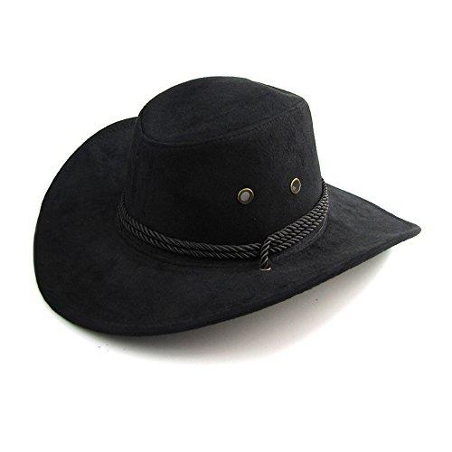 Mangotree Unisex Breiter Rand Cowboyhüte Klassischer Kavallerie Hut Australien Hut Wetter Hut Herren Leder Hüte für Outdoor (Schwarz)