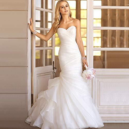 CJJC Elegante Organza Brautkleider für die Braut, Frauen rückenfreie Meerjungfrau schlanke Kleider, ideal für Zeremonie Bankett Abendgesellschaft verwenden, weibliches Geschenk S