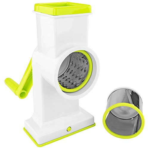 Southern Homewares 2 in 1 Deluxe Hand Crank Rotary Drum Grater Shredder Slicer Kitchen Tool Cheese Fruits Vegetables Nuts