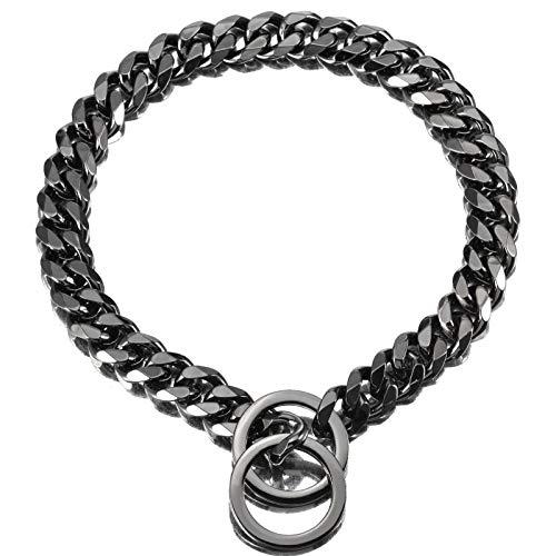 ZZOHAA Collar de perro de acero negro, cadena de perro cubana resistente para perros grandes, eslabones de metal de acero inoxidable fuerte