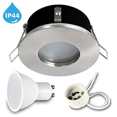 LED IP44 Badezimmer Einbaustrahler 'RIK5' Nickel Matt Inkl. 7W Leuchtmittel SET 1x 6x 10x Neutralweiß 230V GU10 LED Einbauleuchte Deckenspot Einbauspot (1x RIK.5 + 7Wgu10 Neutral)