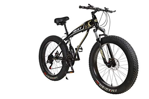 Ibiky Liberator Fat Tire Mountain Bike, 26-Inch Wheels, Multiple Colors 4.0 inch Fat Tire Snow Bike with Powerful Disc Brakes (Black)