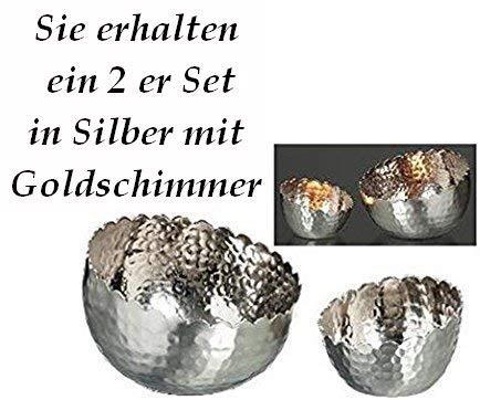 Windlicht Silber schräg mit Goldener Schimmer 2 er Set Handarbeit Boltze 14 und 9 cm im D