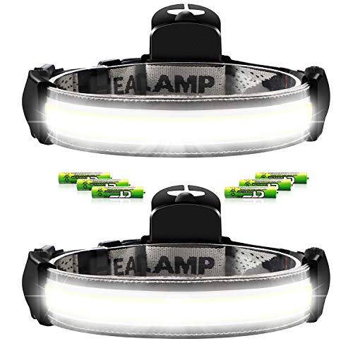 DOZAWA 2 Pack Wide Beam LED Headlamps500 Lumens 3 AAA Battery Powered IncludedUltra Bright210° Wide Illumination3 Lighting Modes Perfect for Camping Running Biking Fishing Construction