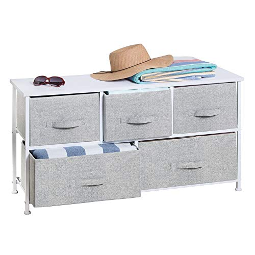 mDesign Extra Wide Dresser Storage Tower - Sturdy Steel Frame, Wood Top, Easy Pull Fabric Bins - Organizer Unit for Bedroom, Hallway, Entryway, Closets - Textured Print - 5 Drawers - Gray/White