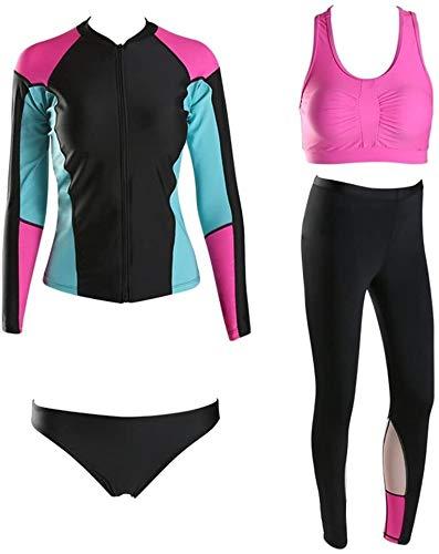 Premium Neopreen-Full Wetsuit, Badmode Met Lange Mouwen Broek Duiken Snorkelen Suits Split 4 Piece Swimsuit (Size : XXXL)