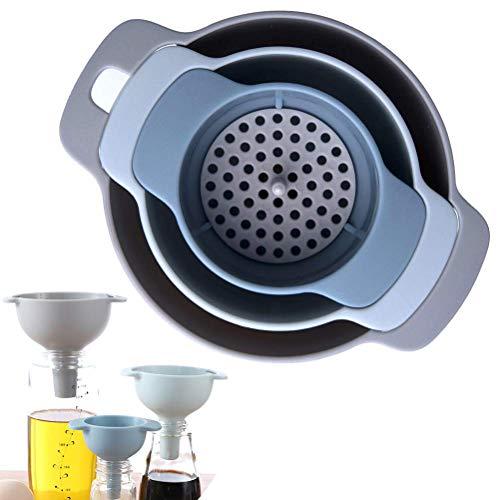 Imbuto da cucina – Imbuto nidificato con manico – Confezione da 3 imbuti in plastica per uso alimentare con filtro staccabile per il trasferimento di liquidi, liquidi, ingredienti secchi e polvere