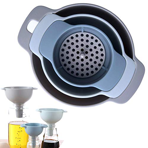 Kitchen Funnel Set - Nested Funnels with Handle - 3 Pack Food Grade Plastic Funnels with Detachable Strainer Filter for Transferring of Liquid Fluid Dry Ingredients and Powder