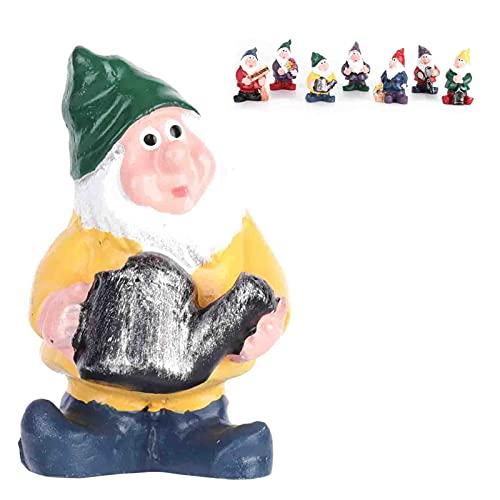needlid Estatuas de jardín de Siete enanitos, Figuras de Enanos en Miniatura de Resina Estatua de Enanos Accesorios de jardín de Hadas Decoraciones para jardín para Navidad para Oficina para el