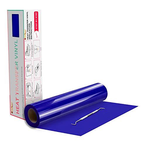 "HTVRONT HTV Vinyl Rolls Blue Heat Transfer Vinyl - 12"" x 20ft Blue HTV Vinyl for Shirts, Iron on Vinyl for All Cutter Machine - Easy to Cut & Weed for Heat Vinyl Design (Royal Blue)"