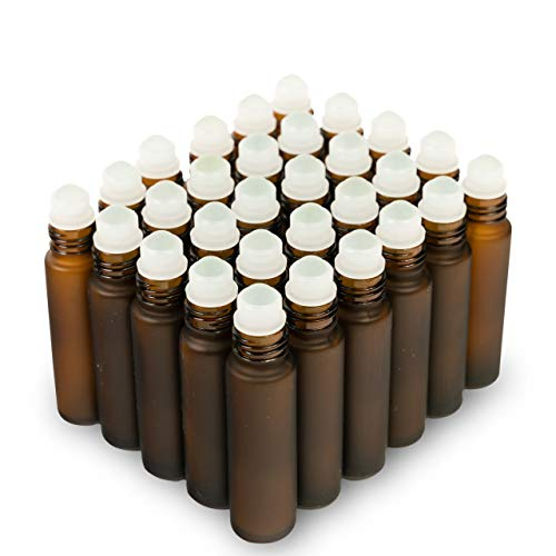 6 Colors Available; The Bottle Depot Bulk 30 Pack 10 ml Amber Glass Bottles With Roller Balls; Wholesale Quantity for Essential Oils, Serums with Pretty Frosted Finish to Protect and Preserve Quality