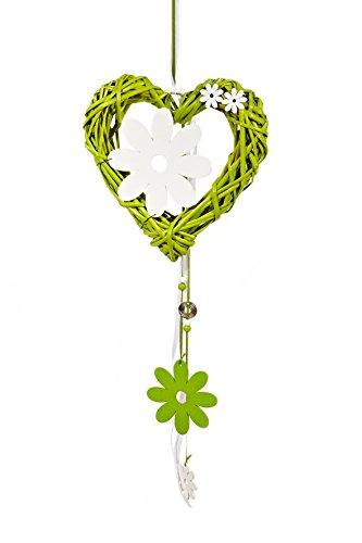 HEITMANN DECO Rattan-Herz mit Zierblumen und Holz-Blume - Türkranz Ostern, Frühling - Frühlingsdeko aus Rattan - Tür- und Fensterdeko