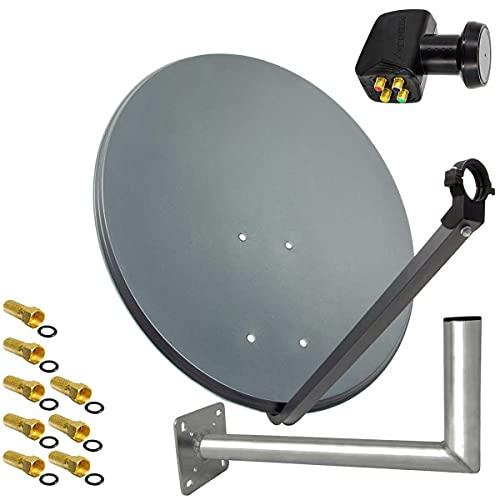 PremiumX Satelliten-Komplettanlage 45cm Anthrazit Antenne Satelliten-Schüssel SAT Quad LNB Wandhalter 45cm 4TN 8X F-Stecker