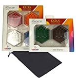 Catan Hexadocks Base Set & Extension Set Storage Box Bundle with Velour Drawstring Bag