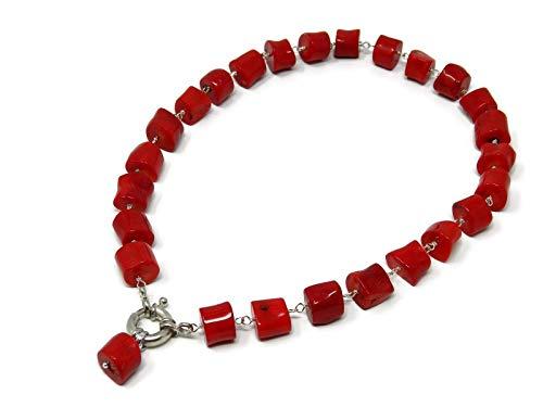 Collana girocollo con tronchetti di corallo bambù rosso