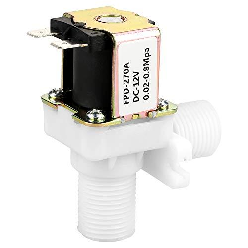 Ginorgee Válvula de Entrada de Agua N/C - DC 12V DN15 G1/2 Válvula electromagnética de plástico Interruptor de Entrada de Agua Normalmente Cerrado