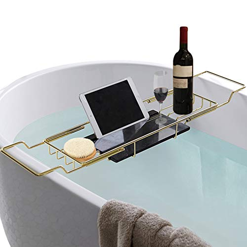 MOCOHANA Marble Bath Caddy Tray Extendable Bathtub Rack Organizer Table Golden Wine Glass Holder Book Phone Tablet Holder Caddies Accessories Placement