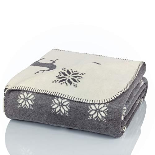 Glart - Manta XL de lana suave y gran capacidad térmica, mullida felpa para acurrucarse o cubrir el sofá, 150 x 200 cm, estampado de renos gris y beige