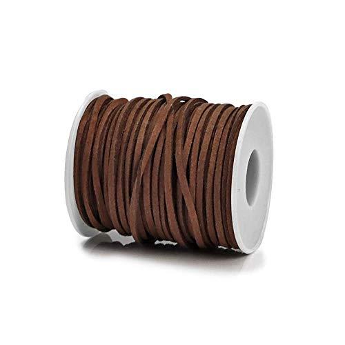 RUBY - Bobina Cordón de Antelina 3mm x 2mm de 30 Metros Hilo de Cuero Falso para hacer Manualidades Pulsera o Collar Fabricación de Bisutería y Abalorios (Marrón Oscuro)