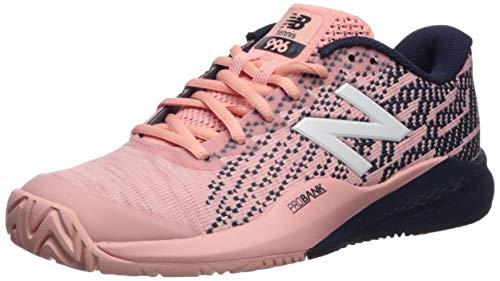 New Balance Women's 996 V3 Hard Court Tennis Shoe, White Peach/Pigment, 6 B US