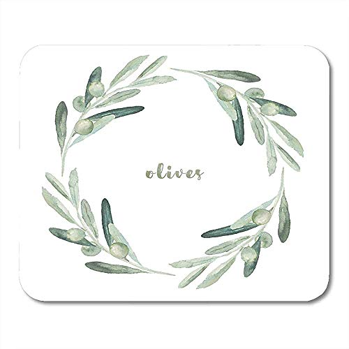 Aquarell Green Branch Aquarell Floral mit Olivenkranz White Leaf Zeichnung Attraktive dekorative Laptop Gaming Pad 25X30CM