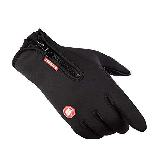 Guantes impermeables a prueba de viento Naisicatar ciclismo Guantes de invierno al aire libre ajustable con cremallera pantalla táctil Ejecución de guantes calientes (negro, M) de regalo para invierno