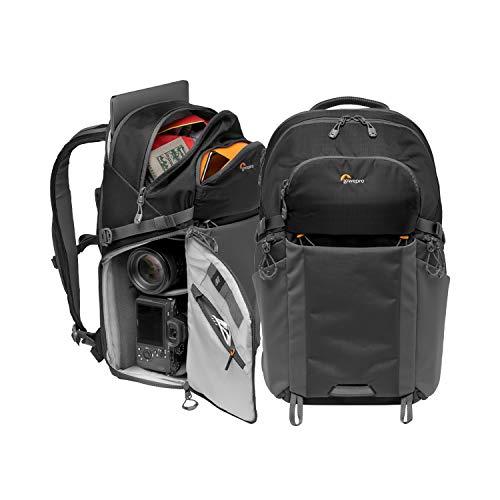 "Lowepro LP37255-PWW Photo Active, Mochila para cámara exterior sin espejo con divisores QuickShelf, Portátil 15""/iPad/ Hidr. 3L, Sony, Canon, Nikon, Gimbal, Dron, DJI, Osmo, Negro/Gris"