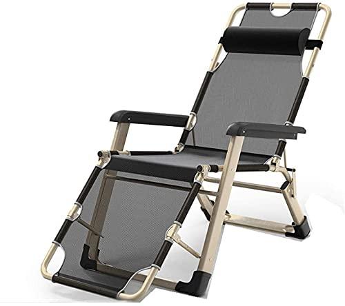 HTDHS Erholungsstuhl, tragbare verstellbare liegende Liege, Garten-Folding-Chaisel-Liege, Camping-Liegestuhl, Sun-Terrasse Folding Beach Lounger-Grey (Color : Black)