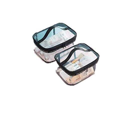 Trousse de Toilette Transparente 2 PCS Trousse de Maquillage Transparent Trousse de Toilette de Voyage en PVC Sac Cosmétique de Voyage Imperméable pour Brosse à Dents, Dentifrice, Shampoing, Savon,Cos