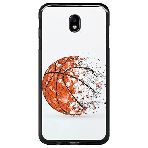 BJJ SHOP Funda Negra para [ Samsung Galaxy J5 2017 ], Carcasa de Silicona Flexible TPU, diseño: Pelota de Baloncesto, Abstracto