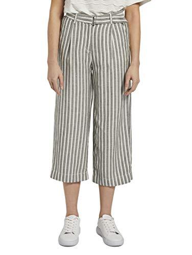 TOM TAILOR Damen Culotte Hose, 22579-khaki Offwhite Strip, 38